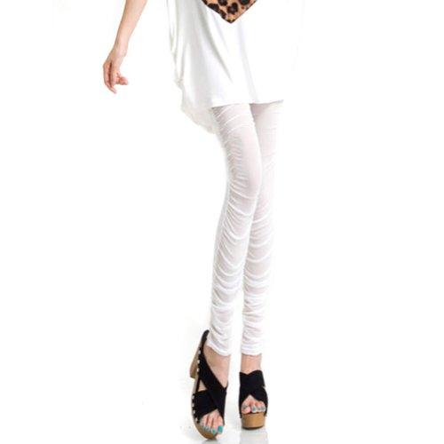 Locomo Women Front Sheer Mesh Back Opaque Footless Legging FFT036WHT S-M White ()