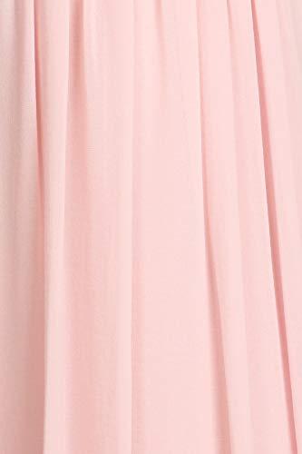 Length Pink Dress Dress Full Halter Grecian LA Bridesmaid DFI Women's Rose 61OvOx