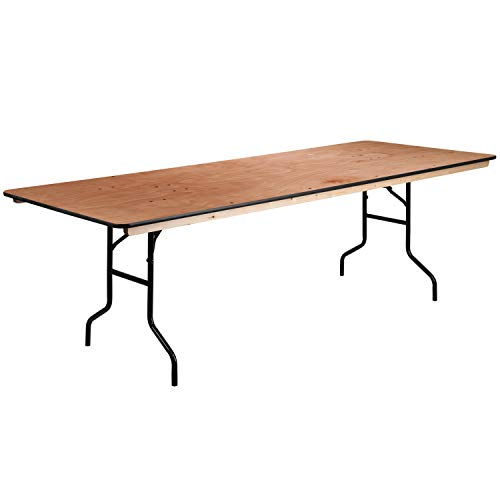 Flash Furniture 36'' x 96'' Rectangular Wood Folding Banquet Table with Clear Coated Finished ()