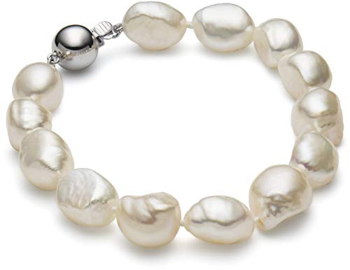 - HinsonGayle AAA Handpicked 10-11mm White Baroque Freshwater Cultured Pearl Bracelet (Sterling Silver)-7.5 in length