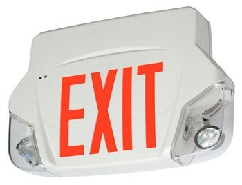 Spec Grade Exit Sign Emergency Light Combo with Red Letters -