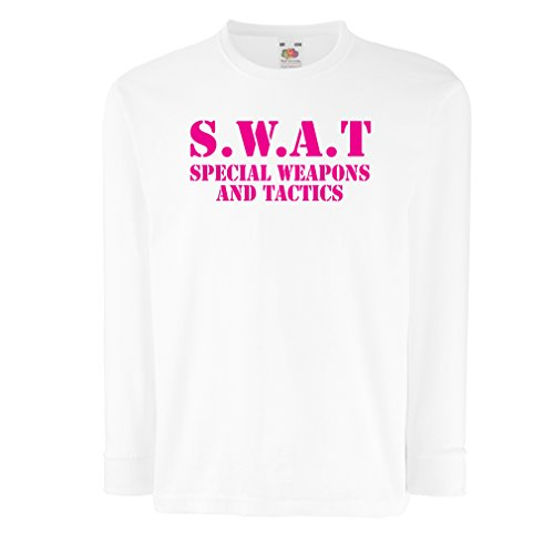 Magenta Print Unit - Kids Boys/Girls T-Shirt SWAT Unit - United States Special Weapons and Tactics Team - Military Equipment (5-6 Years White Magenta)
