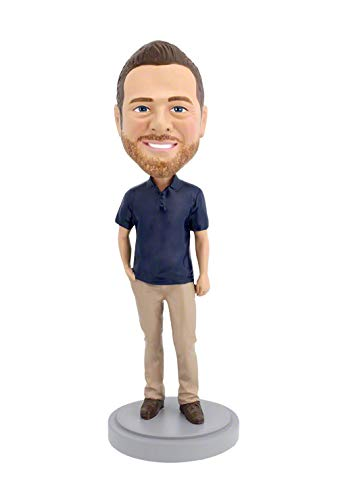 Casual Custom Bobble Head - Custom Bobbleheads - Casual Male Body - Polo Shirt - Personalized Gifts