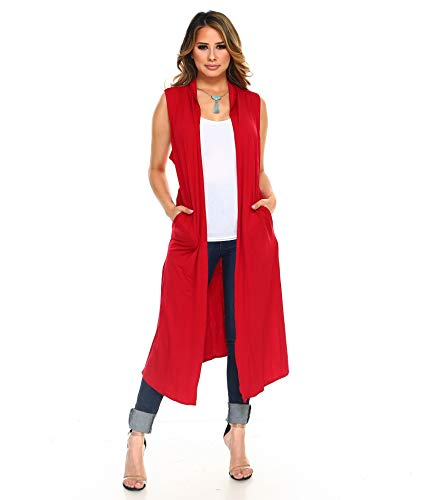 Isaac Liev Women's Long Open Front Cardigan Vest with Pockets and Side Slit (Medium, Dark Red) -
