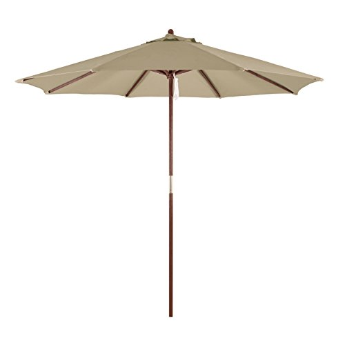 California Umbrella 9' Round Hardwood Frame Market Umbrella, Pulley Lift, Polyester Antique Beige
