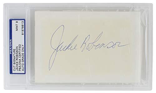 (Jackie Robinson Brooklyn Dodgers Signed (Huge Auto) Slabbed Cut PSA/DNA Mint 9)
