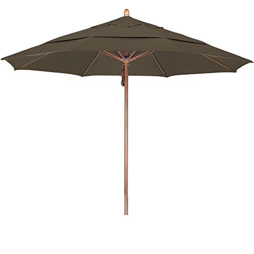 Cheap California Umbrella 11′ Round Hardwood Pole Fiberglass Rib Market Umbrella, Stainless Steel Hardware, Pulley Lift, Sunbrella Cocoa