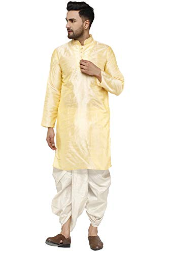 SKAVIJ Men's Art Silk Dhoti Kurta Set Festival and Party Dress