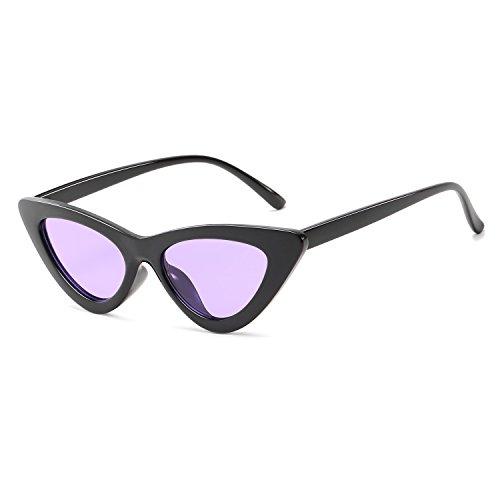 Retro Style Cat Eye Glasses are Suitable for women's Sunglasses (Black Frame Purple -