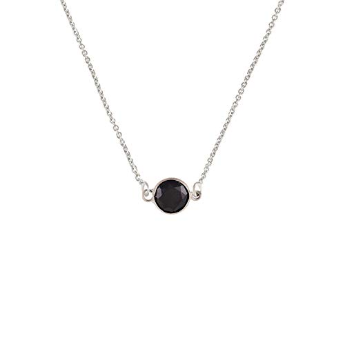 TousiAttar Black Spinel Necklace - 14k Stud Yellow Rose White Gold Pendant - Unique Jewelry Gift for - 14k Spinel Necklace