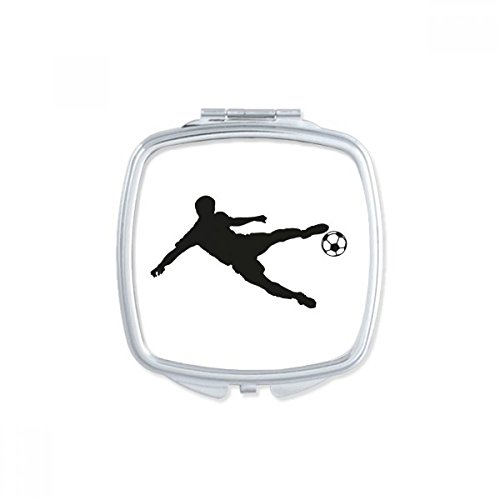 DIYthinker Sports Silhouette Soccer Football Square Compact Makeup Pocket Mirror Portable Cute Small Hand Mirrors Gift by DIYthinker