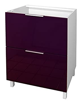 berlenus ct6ba meuble bas de cuisine avec 2 tiroirs aubergine haute brillance 60 cm