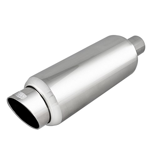 DC Sport EX-5016 Stainless Steel Round Muffler and Slant Cut Exhaust - Cut Tip Slant Exhaust