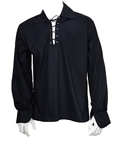 Scottish Black Jacobite Ghillie Kilt Shirt Leather Cord (XL) -