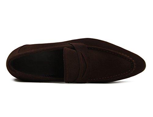 Zapatos Clásicos de Piel para Hombre Zapatos de cuero para hombres Nubuck Business British Style Pointed ( Color : Color cafe , Tamaño : EU42/UK7.5 ) Color Cafe