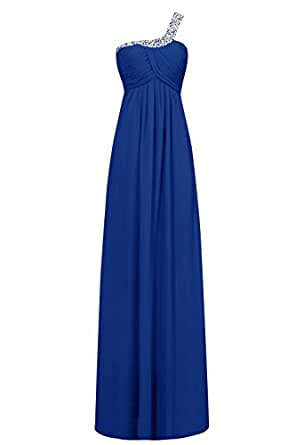 JudyBridal Women's One Shoulder Sexy Asymmetry Back Empire Evening Prom Dress US24W Royal Blue