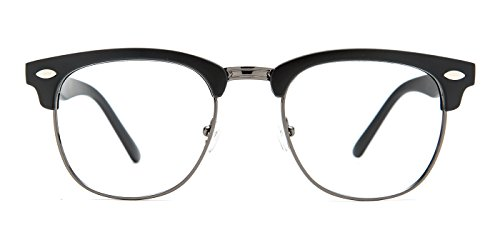 TIJN Men's Classic Inspired Half Frame Nerd Horn Rimmed Clear Lens - Prescription Frames Cheap