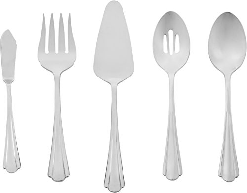 - AmazonBasics 5-Piece Stainless Steel Serving Utensil Set with Scalloped Edge