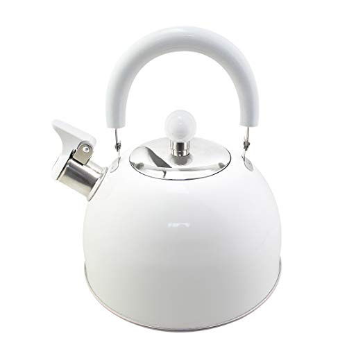 Riwendell 2.7 Quart Whistling Candy ColorTea Kettle Stainless Steel StoveTop Teapot (GS-04011FY-White)