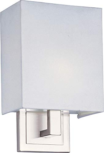 ET2 E21093-01SN Edinburgh II 1-Light Wall Sconce, Satin Nickel Finish, Glass, G24q-2 Quad T4 CFL Fluorescent Bulb, 20W Max., Dry Safety Rated, 2900K Color Temp., Standard Dimmable, Acrylic Shade Material, 2000 Rated Lumens