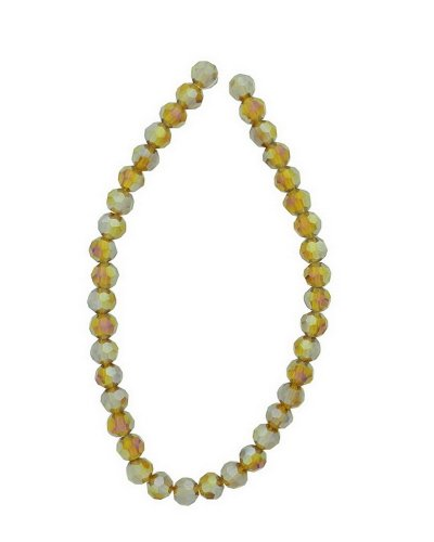 Tennessee Crafts 2666 Glass Amber Glass Beads Faceted Round Amber AB Finish 6mm Beads, 39-Piece