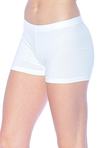 Khanomak Cotton Blend Elastic Waist Band Legging Shorts (Large, White) (White Spandex Shorts)