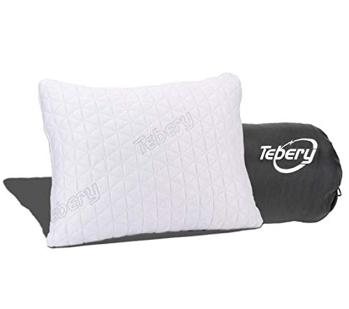 Tebery Shredded Memory Foam Travel Pillow with Bamboo Derived Viscose Rayon Cover Adjustable Compressible Camping Pillow…