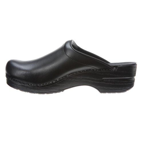 Dansko Dames Sonja Box Leather Clog Zwart
