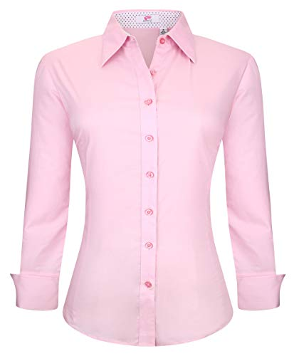 Esabel.C Womens Button Down Shirts Long Sleeve Regular Fit Cotton Stretch Work Blouse Pink M
