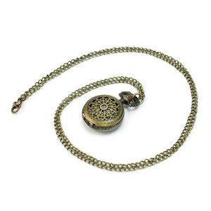 Antique Retro Bronze Steampunk Quartz Clock Pocket Watch Pendant Necklace Chain