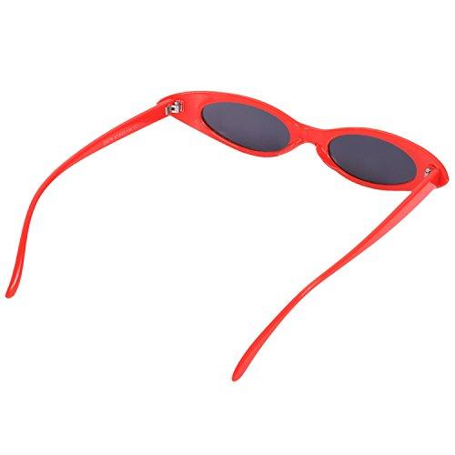 UV400 de de frescas pequenas sol Mujeres Gafas Retro de SODIAL de Gafas sol ovaladas tamano de pequeno Gafas Mujeres ojo gato Gafas Amarillo Marco rojo wq5xwBY7