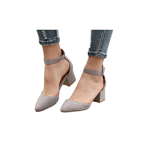 Womens Wedges Ankle Strap Closed Toe Rough Heeled Sandals Shoes Pointed Toe Dress Party Pump Sandals Gray