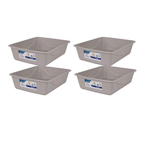 Doskocil Petmate Litter Pan, Blue Mesa/Mouse Grey, Large (Large - 4 Pack, Blue Mesa/Mouse Gray)