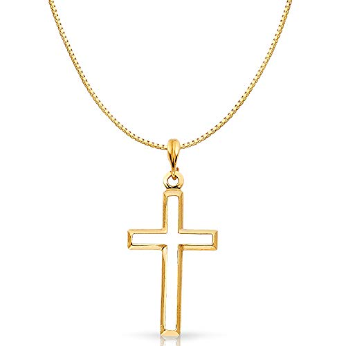 14K Two Tone Gold Religious Crucifix Stamp Charm Pendant with 0.8mm Box Chain Necklace