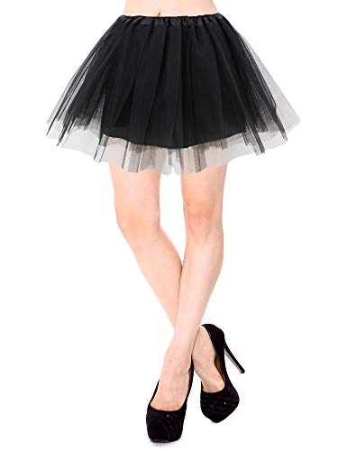 Simplicity Black Tutu Classic 4 Layered Satin Lined Rave Tutu Skirt, Black -