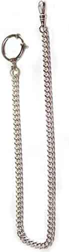 New Sterling silver pocket watch chain with a large spring ring