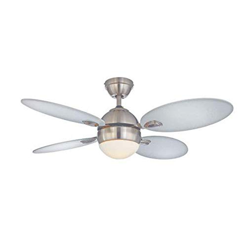 NOMA White Ceiling Fan with Light | Dimmable Flush Mount/Dual Mount Ceiling Fan with Remote | White, Nickel, 42-Inch ()