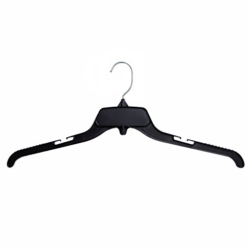 Hanger Central Recycled Black Heavy Duty Plastic Top Hangers with Polished Metal Swivel Hooks Shirt Hangers, 19 Inch, Black, 25 Pack