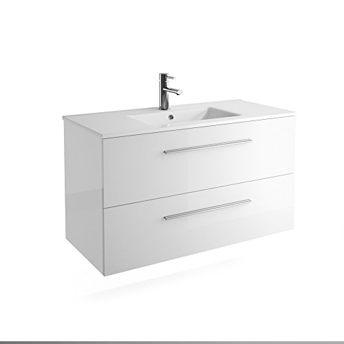 Chrome 40 inches 2 Drawers Wall Mounted Modern Bathroom Vanity. White with Basin