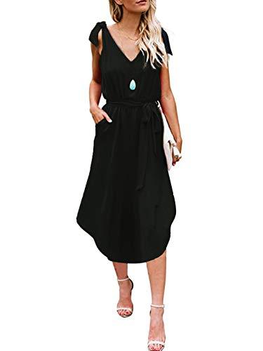 ANRABESS Women Casual Spaghetti Strap Tie Sundress Deep V Neck Sleeveless High Waist Solid Midi Dress with Pockets heise-XL WFF02 Black