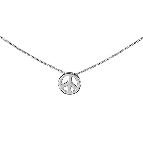 (Jozie B Namasté Small Detailed Peace Sign Charm Silver-Plated 18-Inch Pendant Necklace)