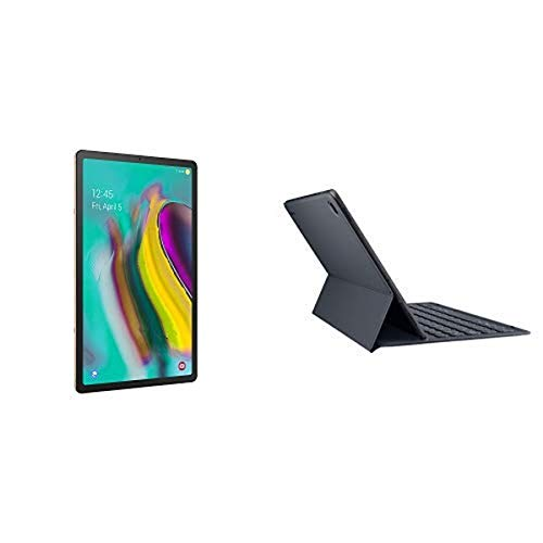 Samsung Galaxy Tab S5e 128 GB Wifi Tablet Gold (2019) with Galaxy Tab S5e Book Cover Keyboard