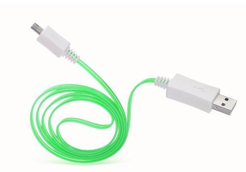 Importer520 (TM) Green Visible LED Light Up Micro USB Data Charging Cable Cord for Controller Charging Cable for Xbox One - LED Green