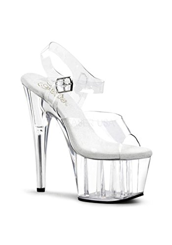Pleaser Clear Womens Heels - Pleaser Women's Adore-708 Ankle-Strap Sandal,Clear/Clear,9 M US