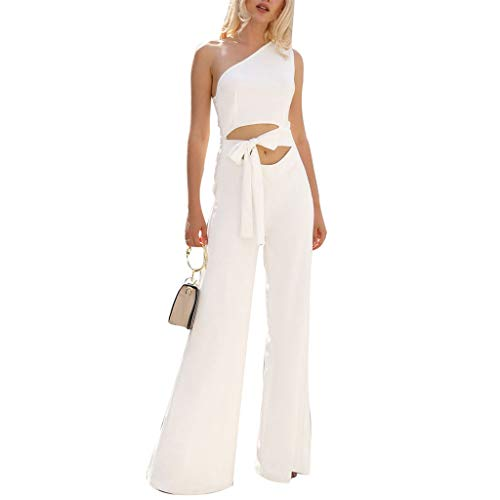 Leg Unitard - Fashion Plus Size Sexy Women Solid Color One Shoulder Bandage Wide Leg Jumpsuit Romper White L