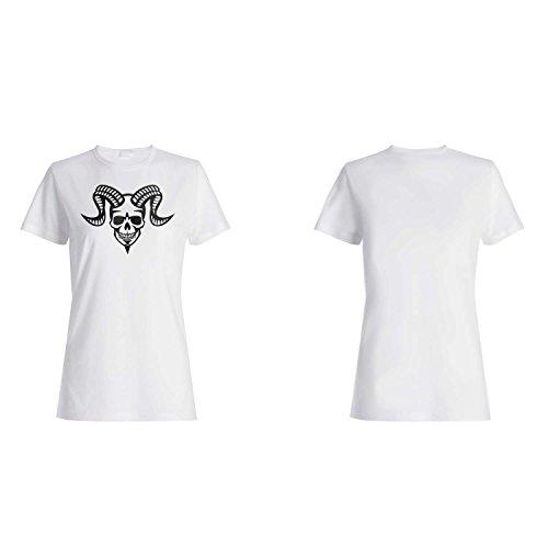 NOVEDAD FELIZ DEL CAPRICORN DE CABEZA ESQUELÉTICA DE HALLOWEEN FELIZ NUEVO camiseta de las mujeres k28f