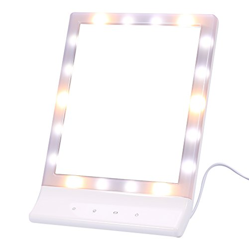 Price comparison product image LED Light Touch Screen Makeup Mirror Lighted Vanity Cosmetic Mirror Portable Travel Mirror 90 Degree Free Rotation Tabletop Mirror For Bedroom Bathroom Toilet Dresser