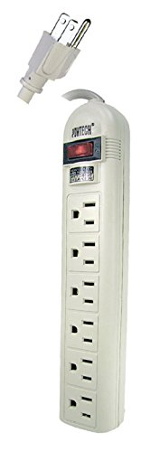 UL Listed T-Type Connectors 6 Outlet Surge Protector Power Strip Safety Circuit Breaker Heavy Duty, 14 AWG Cord, 125V, 15AMPS, 1875 Watt, 1.5 Ft Power Cord 7891AA