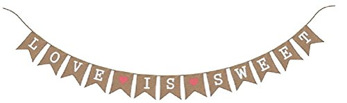 Love is Sweet Bunting Garland Burlap Banner - Valentine's Day Party Decor - Wedding Reception & Engagement Supplies - Bridal Shower Decorations -Save the Date Photo Prop by Jolly Jon - Valentines Day Date