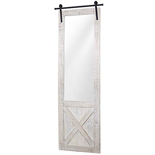 American Art Décor Whitewashed Wood Hanging Barn Door Wall -